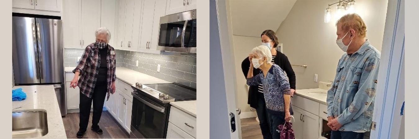 Senior resident exploring revitalized apartment.
